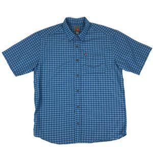 Quiksilver Blue Plaid Button Down Shirt Large